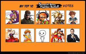 Top 10 Smash Bros Fighter Ballot Votes Meme by Dr-Scaphandre