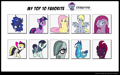 Top 10 Fav MLP Characters by Cupcake2424