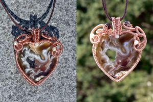 Copper Heart Geode by magpie-poet