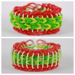 Sailor Pinstripe Rainbow Loom Christmas Colors by MissTopaz