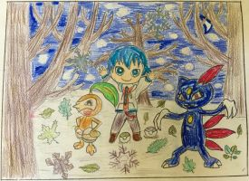 Nuzleaf, Sneasel and Kaito - Winter Forest