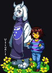 Frisk and Toriel by Velurie