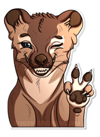 Thylacine - Peace and Wink [Sticker] by pouchdweller