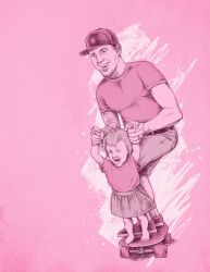 A portrait of the artist with skateboard and baby by scumbugg
