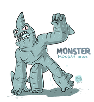 Monster Monday 002- Shark Creature by rickruizdana