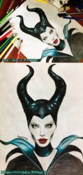 Maleficent Angelina Jolie -Colored Pencils + VIDEO by Amana-HB