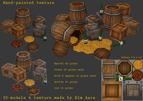 Handpainted barrel crates etc by Mad-Owl