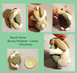 Beach Stone Bunny Pendant - Cream - SOLD by Bittythings