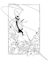 Hollow knight - Hornet fight.  Line art. by Nekr0ns