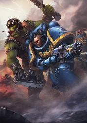 Space marine vs ork by AKIRAwrong