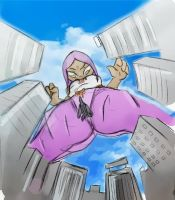 Giantess Draw - Sally Above the City by Colonel-Gabbo