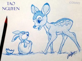 Tao Nguyen's Easter Bambi Sketch Drawing by TaoNguyenArts