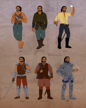 mercenary outfits / Corres ref sheet by Ithilloth