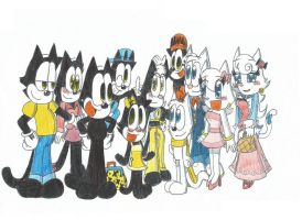 Felix The Cat and Kitty's Families (OCs) by FTFTheAdvanceToonist