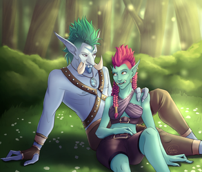 Leah and Ja'mez Version 1 [Commission] by LittleLadyLina