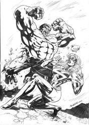 hulk vs ms marvel by ReneMicheletti