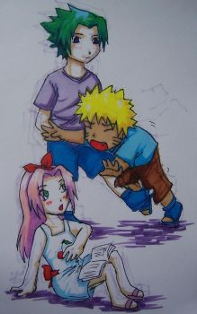 Team 7 chibis in Copics by Shel-chan
