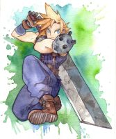 FF7 Cloud Watercolour by FeatherNotes