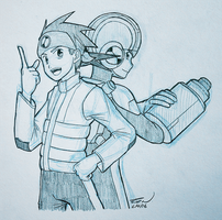 [Sketch] - Netto and Rockman by Arumakan
