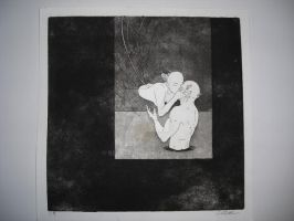 The Kiss Copper Etching by Berbs42