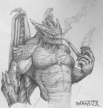 Man-Dragon Drawing by theoggster