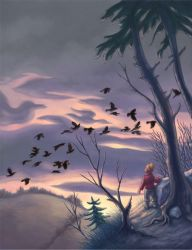 Crows at Night by Red-Clover
