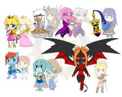 Assorted Chibis - Demons and Pokemon