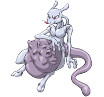 Mewtwo ate Lucario, colored by by Kalnareff