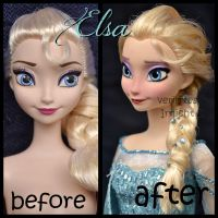repainted ooak mattel frozen snow queen elsa doll. by verirrtesIrrlicht