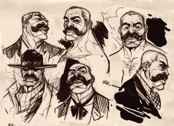 Ashes of The West - Bass Reeves ink sketches by DenisM79
