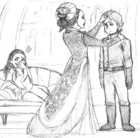 Star Wars sketch - Padme and the twins by KatyTorres