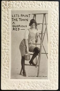 Let's Paint The Town - Antique Postcard by KarRedRoses