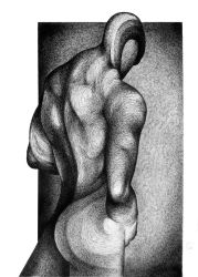 Study of a back facing an open door (SOLD) by RedTweny
