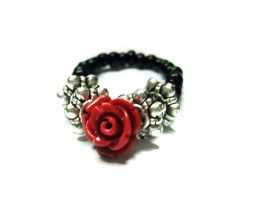 Small Red Rose Ring Stretch- Adjustable by MyArtself