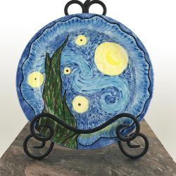 SOLD - Ceramic Starry Night decorative Plate by thevioletduchess