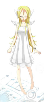 Lily singing in white dress by Godiee06