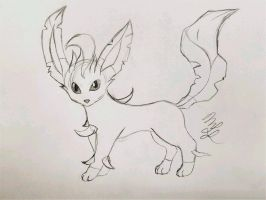 Leafeon Sketch by Cookiedough-Gecko