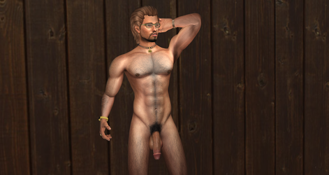 Eric Nude against brown wall by Bast-Productions