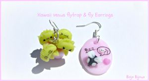 Kawaii venus flytrap and fly earrings by Bojo-Bijoux