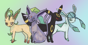 Four Eeveelutions by MillyT