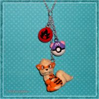 Pokemon - Arcanine and Pokeball Charm Necklace by YellerCrakka