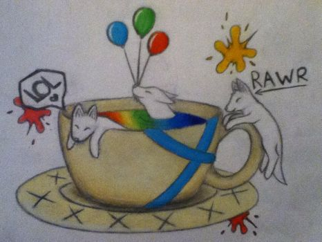 Teacup Wolves (Colored) by Soel-Insanity