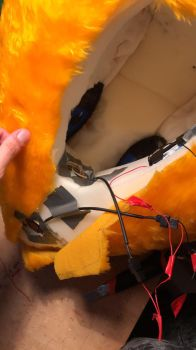 Wiring my Renamon fursuit head by NoWayOutHere