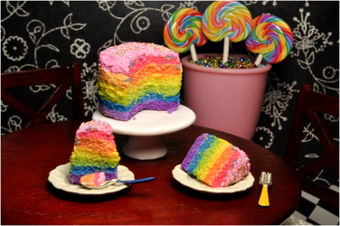 Double Rainbow Cake 1:12 Scale by kingofthebutterflies