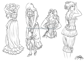 Corsets and petticoats by MarineElphie