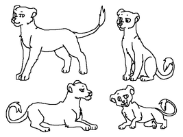 Lionesses Linearts by TheRealTilsa