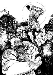 MITCH HAMMER #2 Variant Cover BW by huseyinozkan
