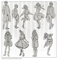 Various poses in casual clothes by Radittz