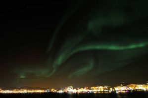 Northern Lights above my Hometown by SindreAHN