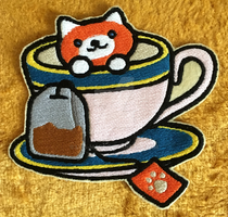 Neko Atsume - Ginger Tea Iron-on Patch by Li-is-Mara